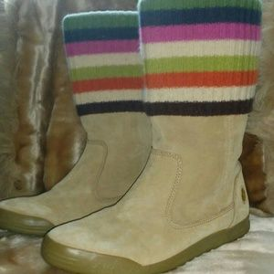 Coach Tatum Suede Signature Stripe Knit Boots 7.5